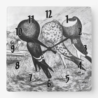 Brunner Pouter Pigeons Square Wall Clock