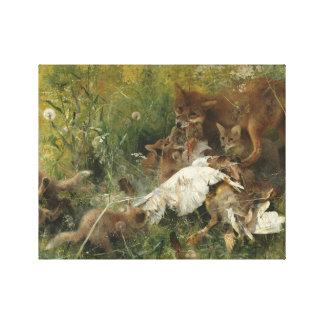 Bruno Liljefors - A Fox Family Canvas Print