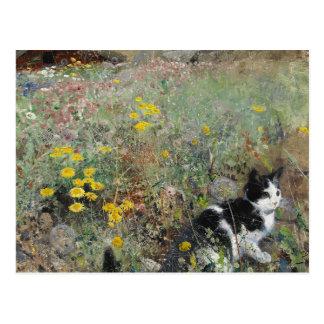 Bruno Liljefors - Cat on Flowerbed Postcard