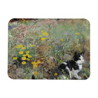 Bruno Liljefors - Cat on Flowerbed Rectangular Photo Magnet