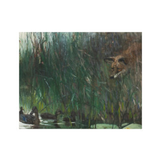 Bruno Liljefors - Flock of Ducks and Sneaky Fox Canvas Print