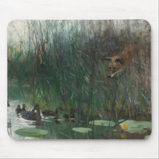 Bruno Liljefors - Flock of Ducks and Sneaky Fox Mouse Pad