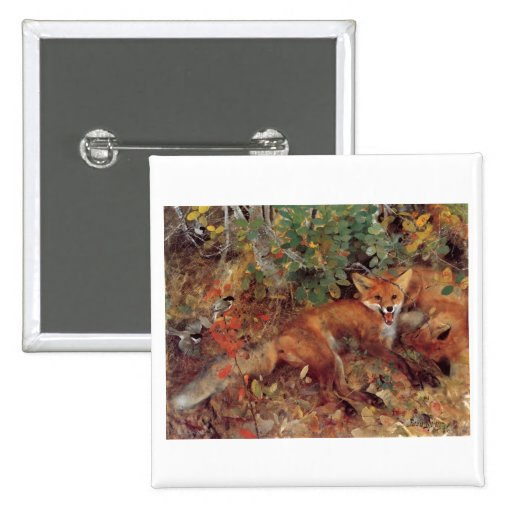 Bruno Liljefors -  Foxes 1885 Oil on Canvas Print Pinback Button