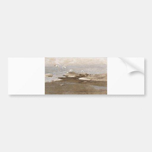 Bruno Liljefors - Gulls @ Beach 1909 Sea Seagull Bumper Sticker