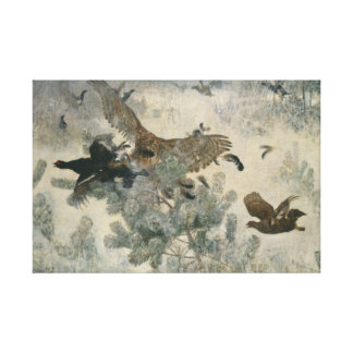 Bruno Liljefors - Hawk and Black-Game Canvas Print