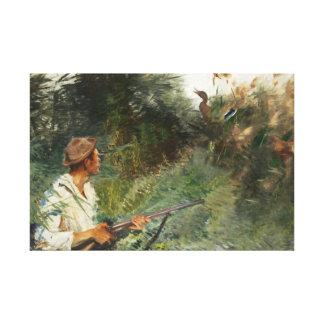 Bruno Liljefors - Hunter and Mallards Canvas Print
