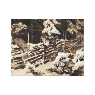 Bruno Liljefors - Winter Scene with Hunter and Fox Canvas Print