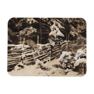 Bruno Liljefors - Winter Scene with Hunter and Fox Rectangular Photo Magnet