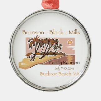 Brunson Black Mills Family Reunion Metal Ornament