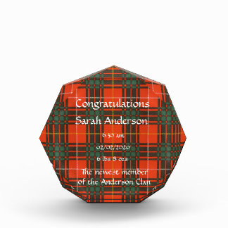 Brus clan Plaid Scottish kilt tartan Acrylic Award