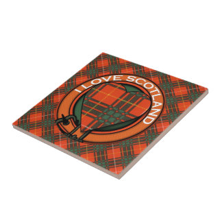 Brus clan Plaid Scottish kilt tartan Tile