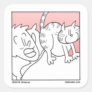 Brusco despertar del gato calcomanía cuadradas