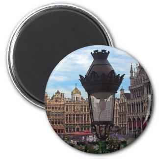 Bruselas - el lugar magnífico imán redondo 5 cm