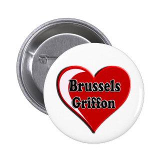 Bruselas Griffon en el corazón para los amantes de Pin Redondo 5 Cm