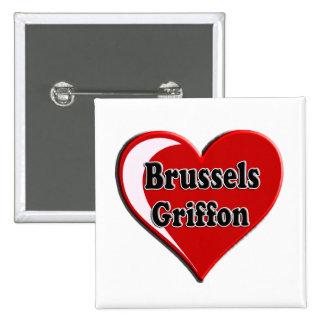 Bruselas Griffon en el corazón para los amantes Pin Cuadrada 5 Cm