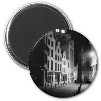 Bruselas por noche imán redondo 5 cm
