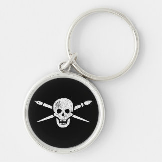 Brush and Bones Silver-Colored Round Keychain