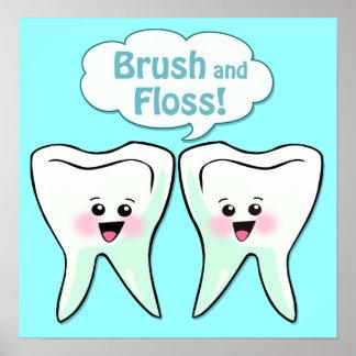 Brush and Floss Dentist Artwork Poster