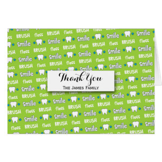 Brush and Floss Dentist Pattern Personalized Card