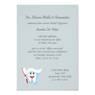 Brush and Tooth Dental Announcement/Invitation 5x7 Paper Invitation Card