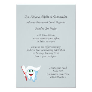 brush and tooth dental announcementinvitation invitation