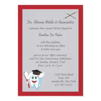 Brush and Tooth Dental Graduate 5x7 Paper Invitation Card