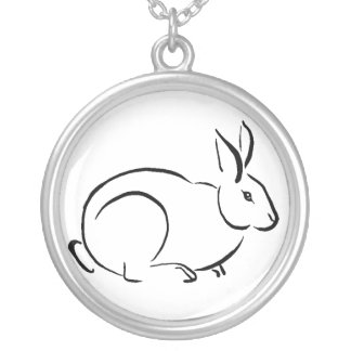 Brush art rabbit silver plated necklace