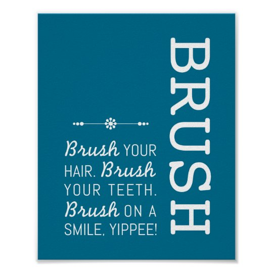 Brush | Bathroom Rules Poster Art Print 8x10