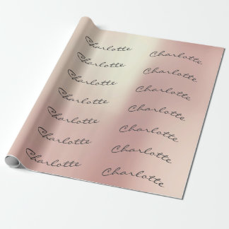 Brush Champaign Pink Rose Gold Powder Name Wrapping Paper
