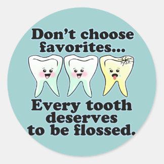 Brush & Floss Dental Humor Round Sticker