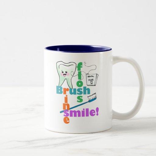 Brush Floss Rinse SMILE Coffee Mugs