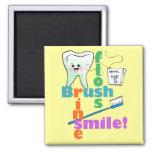 Brush Floss Rinse SMILE Fridge Magnets