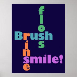 Brush Floss Rinse SMILE! Poster