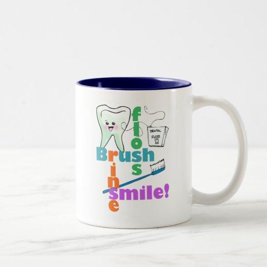 Brush Floss Rinse SMILE Two-Tone Coffee Mug