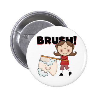 BRUSH - Girl With Tooth Tshirts and Gifts 2 Inch Round Button