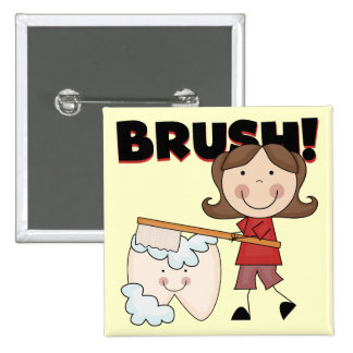 BRUSH - Girl With Tooth Tshirts and Gifts 2 Inch Square Button
