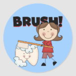 BRUSH - Girl With Tooth Tshirts and Gifts Classic Round Sticker