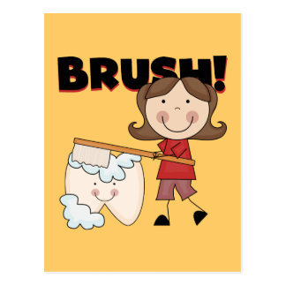 BRUSH - Girl With Tooth Tshirts and Gifts Post Card