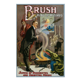 Brush ~ King of Wizards Vintage Magic Act Print