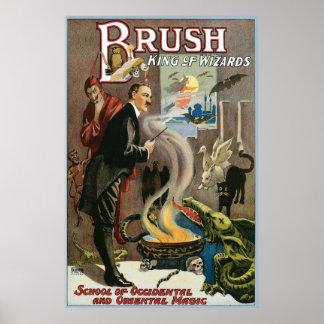 Brush ~ King of Wizards Vintage Magic Act Print