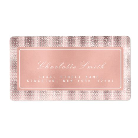 Brush Kiss Pink Rose Gold Return Address Labels