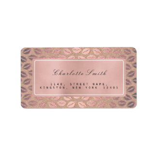 Brush Kiss Pink Rose Gold Return Address Labels