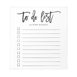 Brush Lettered Personalized To Do List Notepad