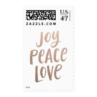 Brush Lettering Christmas Postage Stamp - Rose Gol