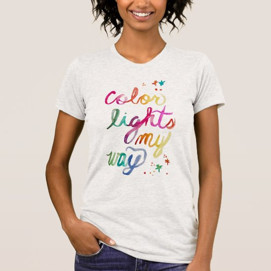 Brush Lettering Watercolor Script Rainbow Colorful T-Shirt