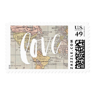 Brush love worldmap stamp
