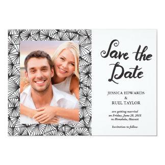 brush pen script photo save the date card