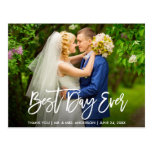 Brush Script Best Day Ever Wedding Thank You Postcard