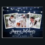 "Brush Script Blue Wood Lights 3 Photo Holiday Postcard<br><div class=""desc"">Rustic Blue Wood Brush Script 3 Photo Happy Holidays Postcard with String Lights</div>"