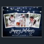 "Brush Script Blue Wood Lights 3 Photo Holiday Postcard<br><div class=""desc"">Rustic Blue Wood Brush Script 3 Photo Happy Holidays Postcard with String Lights</div>"